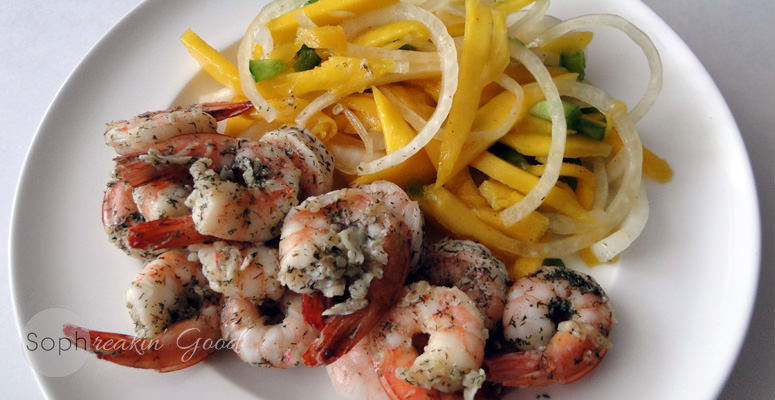 Garlic Shrimp with Spicy Mango Salad
