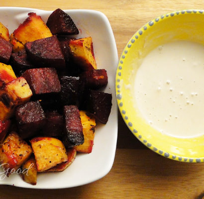 Roasted Beets & Sweet Potatoes with Tahini