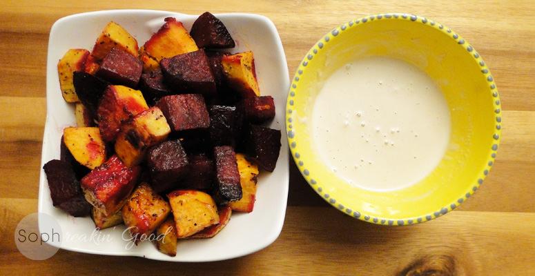 Roasted Beets & Sweet Potatoes with Tahini