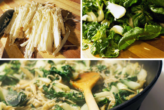 Bok Choy with Enoki Mushrooms
