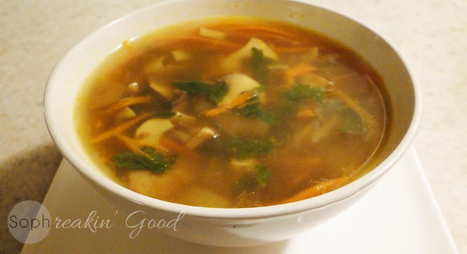 Mushroom Soup with Carrot Noodles