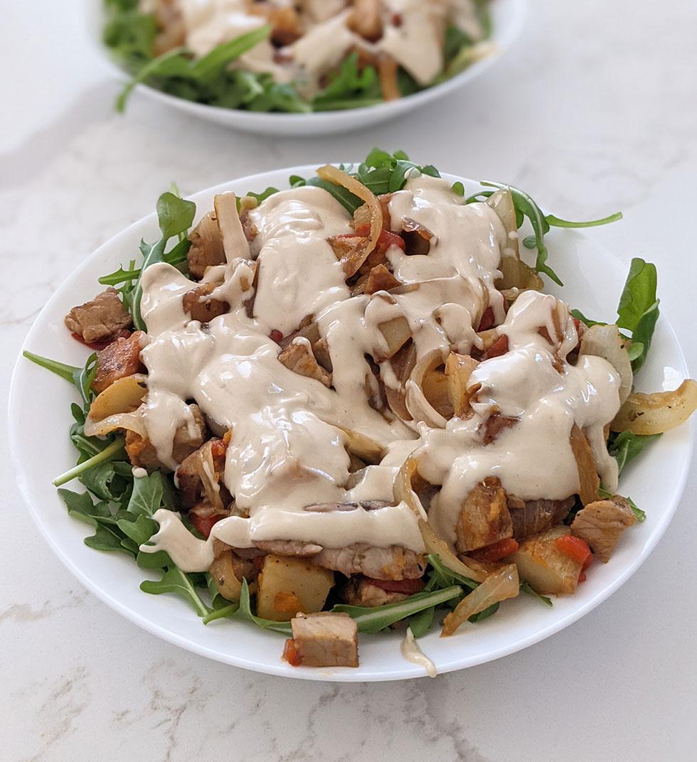 Tahini on top of a Salad - Tahini Recipe